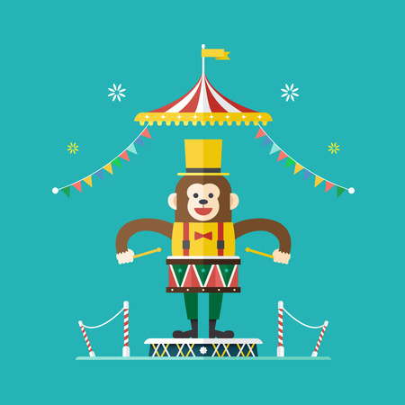 Monkey drummer circus theme ,Vector illustration
