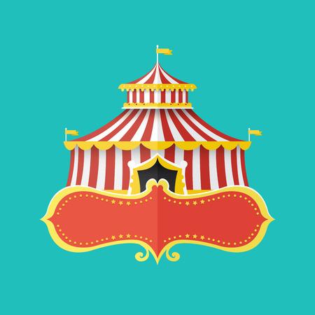 Clásica tienda de circo con la bandera para el texto, ilustración vectorial