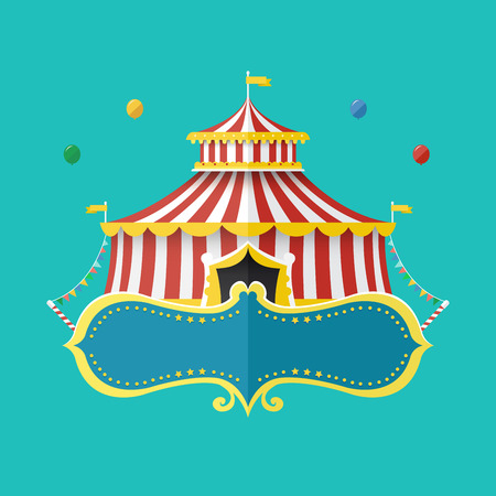 Classical Circus tent with banner for text, Vector illustration 일러스트