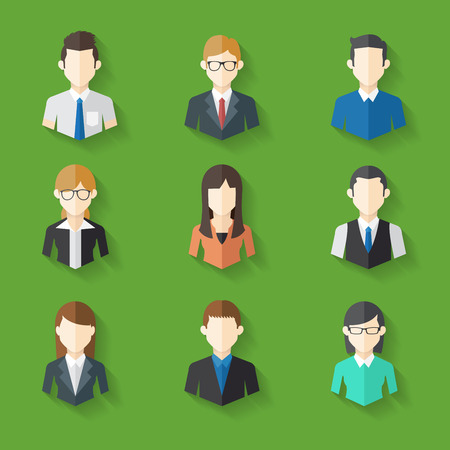 portrait: Icons Set of Male and Female Faces in business theme, Vector illustration Illustration