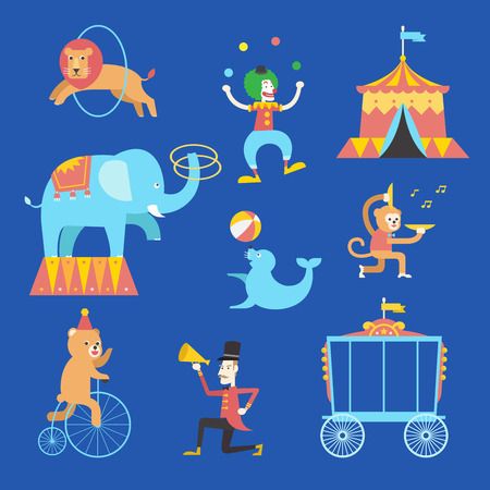 Circus theme icons set, Vector illustration