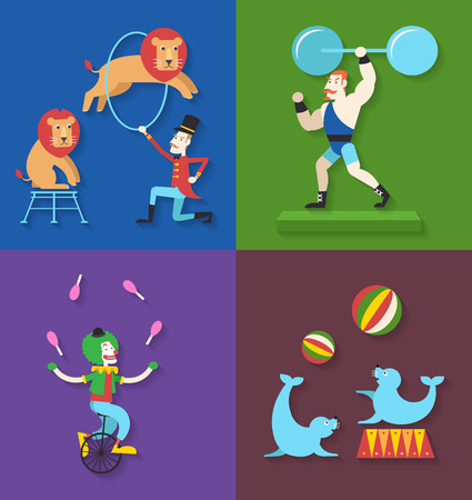 Circus performance with animals clown actor athlete, Vector illustration