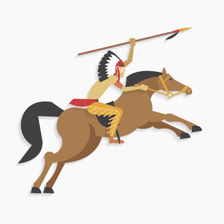 indian chief: Native american indian chief with spear riding horse