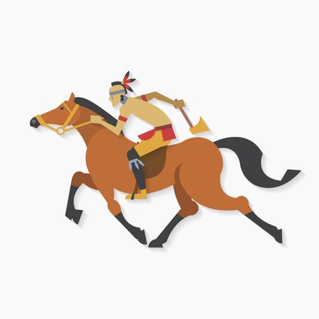 guerriero indiano: Native american indian guerriero con cavallo ascia