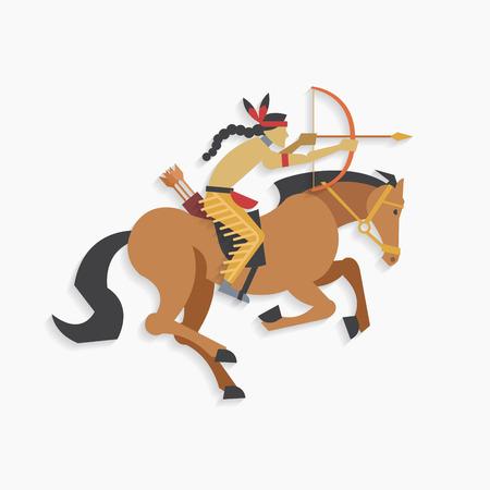 guerriero indiano: Native american guerriero indiano con arco e freccia equitazione Vettoriali