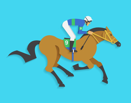thoroughbred horse: jockey riding race horse number 9, Vector illustration