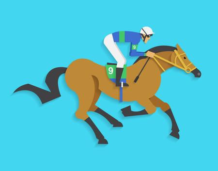 jockey riding race horse number 9, Vector illustration