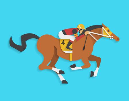 speed ride: jockey riding race horse number 4, Vector illustration