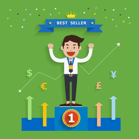 best seller: Business concept of best seller, Vector illustration