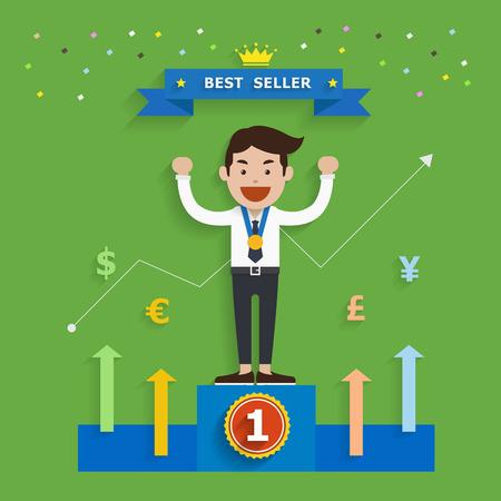 best seller: Business-Konzept der Verkaufsschlager, Vektor-Illustration Illustration