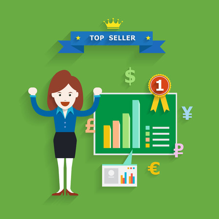 Business concept of top seller, Vector illustration 일러스트