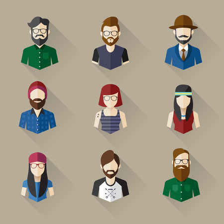 Icons Set of Male and Female Faces in Hipster theme, Vector illustration