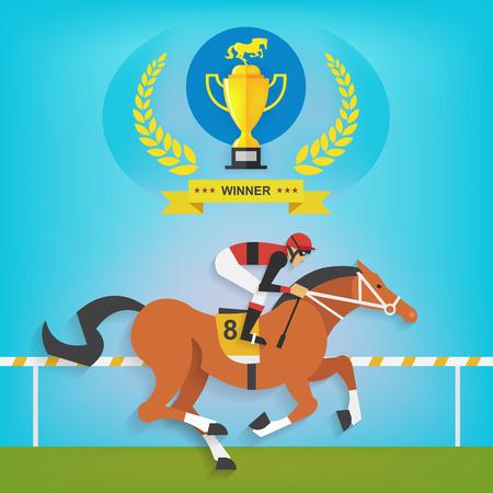 trofeo: El campe�n de equitaci�n raza, ilustraci�n vectorial Vectores