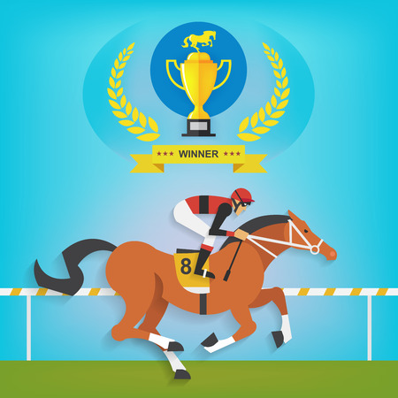 horses: The champion of race horse riding, Vector illustration