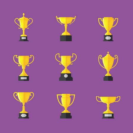 Golden trophy icons set, Isolated on purple background