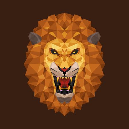 Lion head polygon geometric, Vector illustration  イラスト・ベクター素材