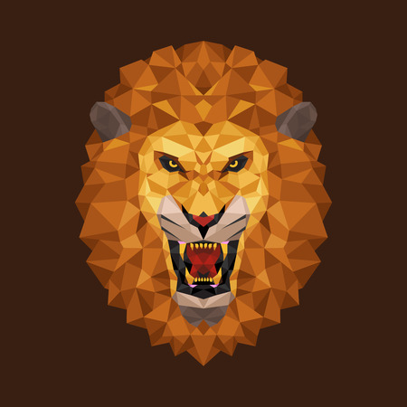 Lion head polygon geometric, Vector illustration 일러스트