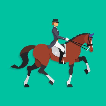 Doma de caballos y jinete, deporte ecuestre