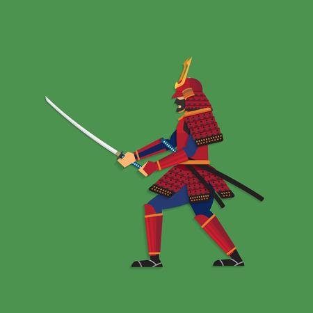 warrior sword: Samurai Warrior Brandishing Sword, Vector illustration