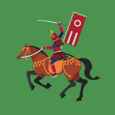 guerrero samurai: Samurai Warrior Equitaci�n con la ilustraci�n vectorial Espada