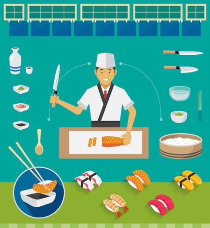 chef caricatura: Sushi Chef y Utensilios de cocina Juegos Nigiri Sushi