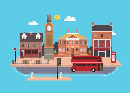 bus anglais: rue de la ville dans le style de design plat, Royaume-Uni Illustration