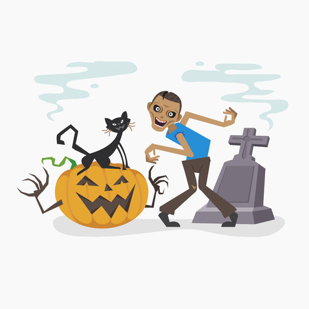 Happy Halloween with zombie and black cat, Vector illustration 일러스트