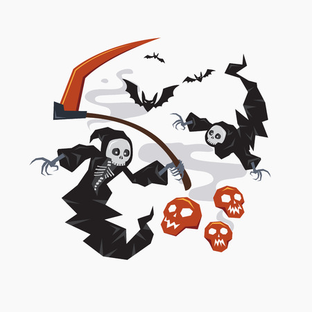 grim: Grim Reaper with scythe for halloween or horror concept, Vector illustration Illustration