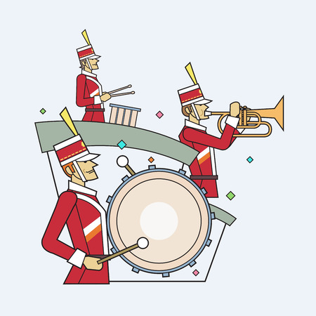 brass band: Military band line style, Vector illustration