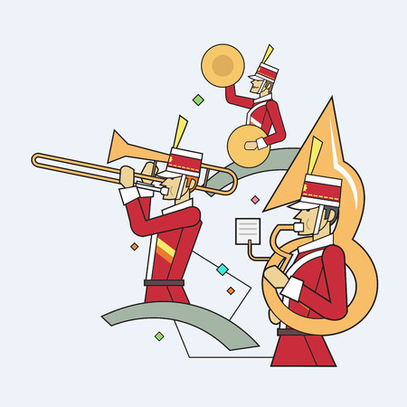 teamwork cartoon: Military band line style, Vector illustration