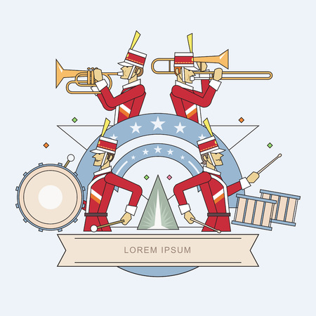 military uniform: Military band line style, Vector illustration