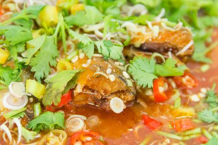 sardinas: sardinas en salsa de tomate con la cocina picante Foto de archivo