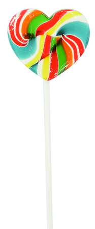 heart shape of swirl lollipop isolated on white with clipping part Stok Fotoğraf