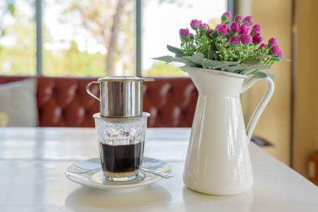 Coffee dripping with flower in vietnamese style at a cafe Stok Fotoğraf