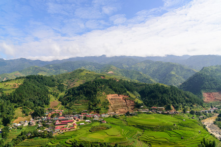 beautiful city arounded by rice terrace Stok Fotoğraf
