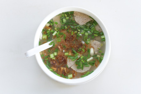 Traditional Vietnamese noodle soup on top view