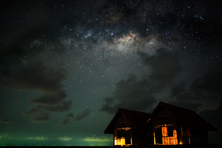 twin house: Clearly milky way over the twin house