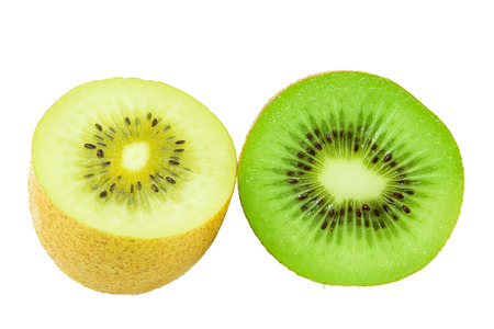 green and gold kiwi fruit cross section isolated on white
