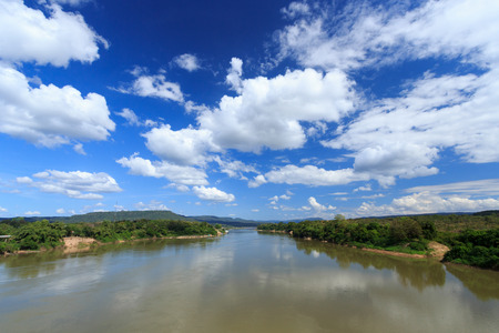 beautiful water and blue sky with white clouds landscape