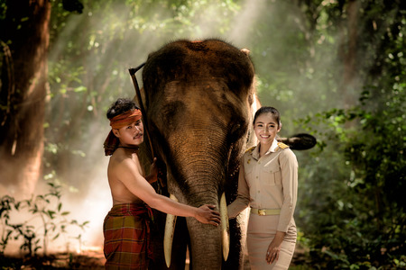 portrait of beautiful Asian women teacher and mahout beside elephant in Surin, Thailand