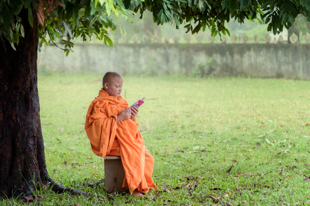 Buddhist novice monk reading under big tree Stok Fotoğraf - 72751856