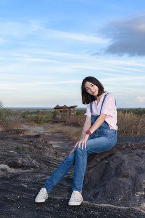 beautiful caucasian traveller with nature background, adventured girl Stok Fotoğraf