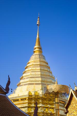 relics: This photo are taken at Doi Suthep mountain.This is relics call Phra That Doi Suthep mountain at Chiang mai Thailand. Stock Photo