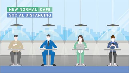 Sitting in coffee cafe lifestyle after pandemic covid-19 corona virus. New normal is social distancing and wearing mask. Flat design style vector concept