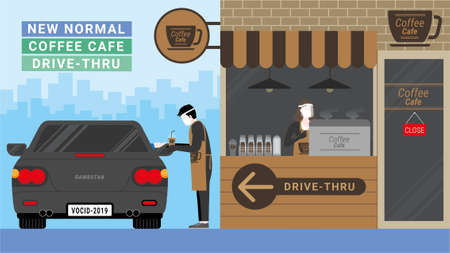 New normal business model after pandemic. Consumers change behavior. Coffee shop is close. Changing to coffee cafe kiosk for drive-thru service. Lower fixed costs and survive in Marketing disruption.