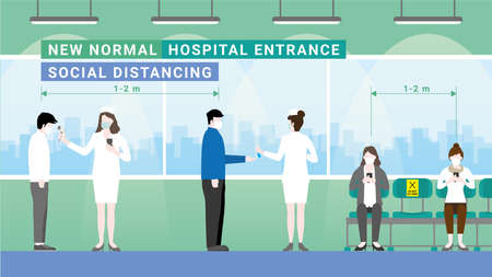 Queue for screening test by nurse before entrance hospital. Temperature and hand sanitizer checkpoint. Protection pandemic covid-19 corona virus. New normal is social distancing and wearing mask.