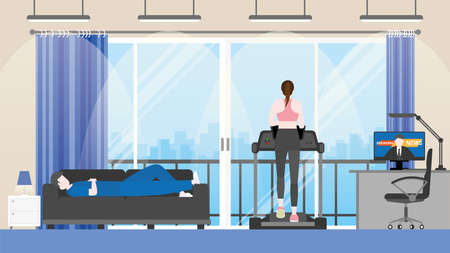 Couple is living in condominium city view room together. Listening news from screen. Man is sleeping on sofa and woman has exercise running on treadmill. Vector color flat style design.