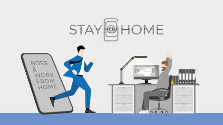 Stay at home lifestyle concept. The shocked man have work from home. Using computer while boss get through mobile screen for checking his job. Vector Illustration flat minimal style.