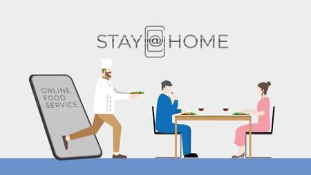 Stay at home lifestyle concept. Couple ้have romantic dinner dating at home. Using online food delivery application. Chef get through mobile screen for serving food similar going to the restaurant. Ilustração