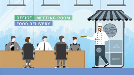 Online food and fast delivery concept. Chef as business owner get through mobile screen for serving food. Application technology service food from everywhere. Order from office people in workplace.
